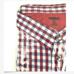 King Size 6XL Tall Shirt Long Sleeve Gingham Check